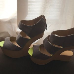 Grey sandals with neon accents